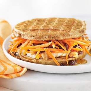 5-Minute Breakfast Recipe... Carrot Cake Waffle Breakfast Sandwich...  Carrot cake for breakfast? Why not! This innovative healthy waffle breakfast-sandwich recipe uses whole-grain frozen waffles instead of bread and has a carrot cake-like filling made with reduced-fat cream cheese, shredded carrot, raisins and walnuts sweetened with a touch of maple syrup