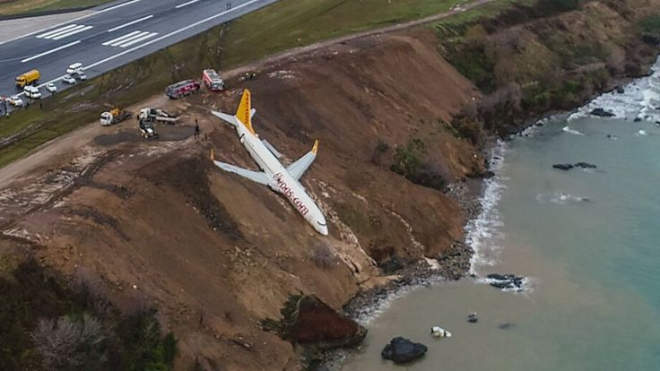 The plane stopped with its nose nearly in the sea, but Pegasus Airlines said no passengers or crew were hurt.