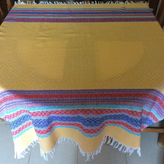 Mexican tablecloth  yellow by AmorcitoCorazonMX on Etsy