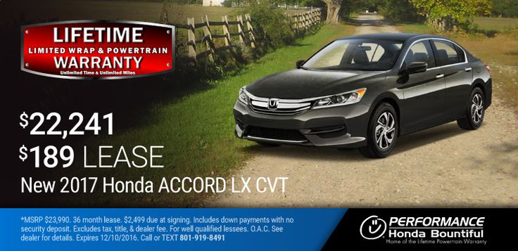 New 2017 Honda Accord: Purchase a New 2017 Accord with a Limited Lifetime Wrap & Powertrain Warranty for only $22,241 or lease for only $189 per month OAC. https://www.performanceut.com/offers/new-2017-honda-accord-bountiful-1116?utm_source=rss&utm_medium=Sendible&utm_campaign=RSS