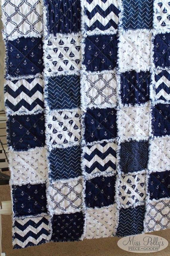 Nautical Rag Quilt from Miss Polly's Piece Goods~~ For more adorable quilts, baby bedding, and big kid bedding, visit Miss Polly's Piece Goods! https://www.etsy.com/shop/MissPollysPieceGoods