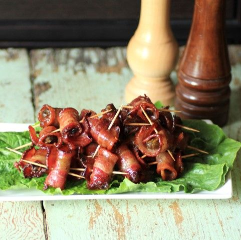Spicy Caramelized Bacon Wrapped Smoked Oysters