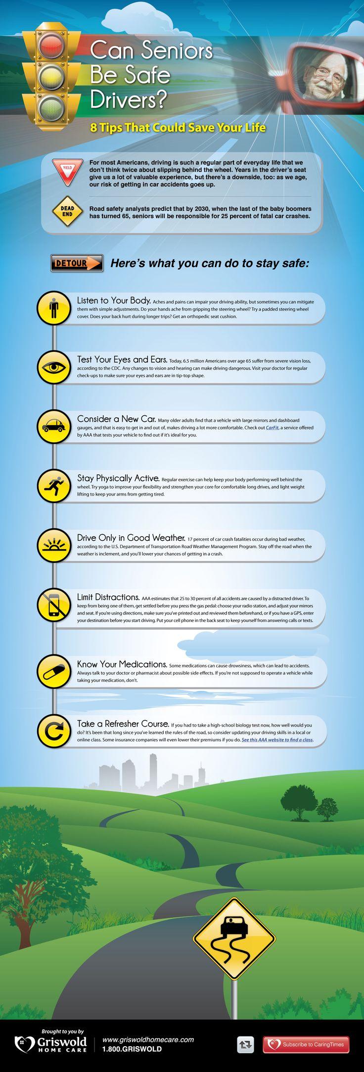 8 driving tips for seniors #SafeDriving #infographic
