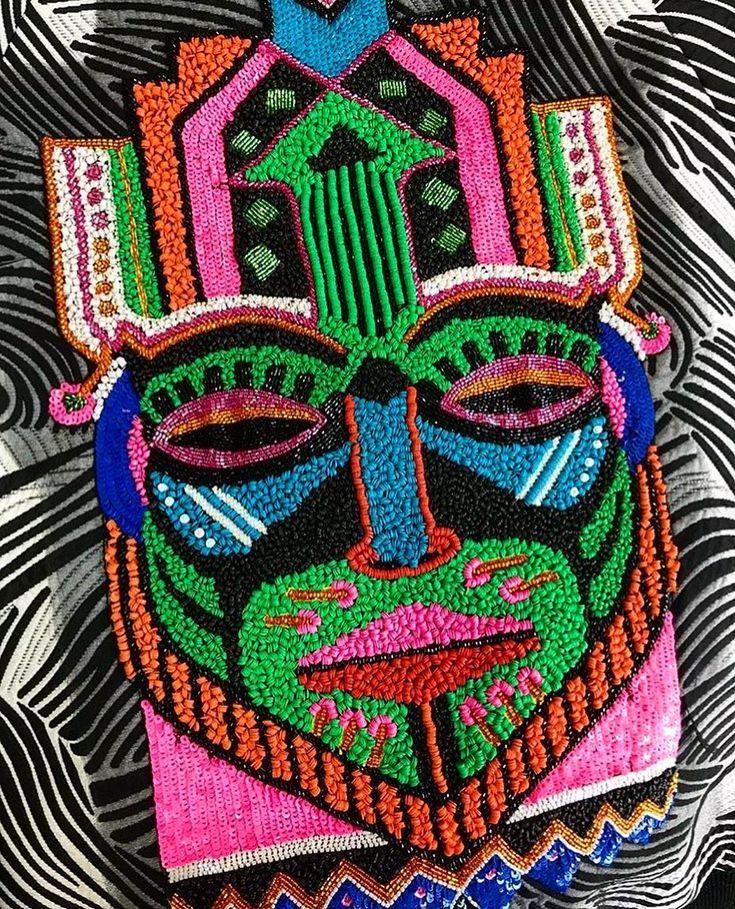 Mask in details from SS18 collection. #katyadobryakova #mask #катядобрякова #ss18 #новаяколлекция #details #summer #spring  #africa #sequins #bomber