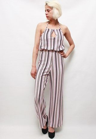 VINTAGE 70' BEAUTIFUL AMAZING COLORFULL STRIPED JUMPSUIT
