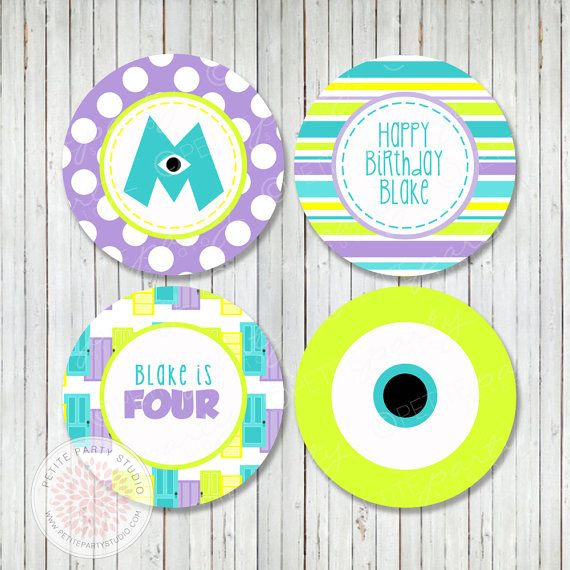 Monsters Univerisity Inspired Birthday Party or Baby Shower Printable Cupcake Toppers  - by Petite Party Studio