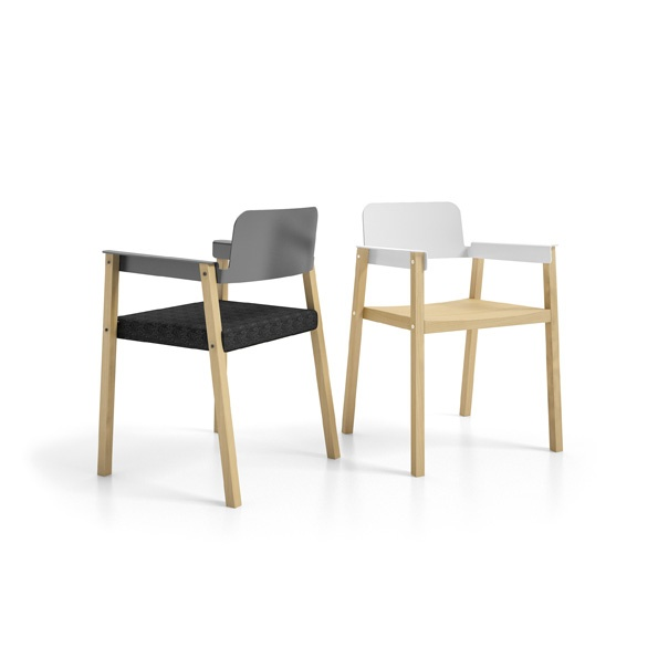 """Penelope is a chair of minimalist elegance from the young designer, Alessandro Masturzo, winner in 2011 of the first edition of the Infiniti Design De-contest. Intentionally essential, it is composed of a beech wood structure embellished with visible studs and nuts - """"mechanical quirks"""", as the designer defines them - and by inserts of press-formed aluminium which, when placed on the armrests and backrest, connect and complement the chair."""