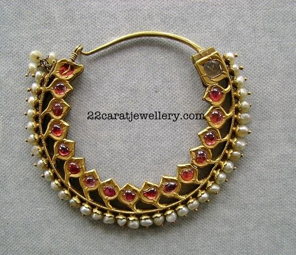 Jewellery Designs: Ruby Traditional Choker Necklace Set with Pearls
