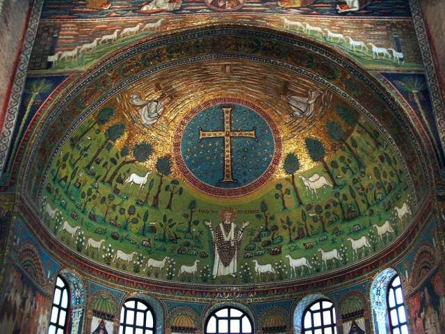 St Apollinare in Classe (Ravenna), Italy,  6th century, Paradise, Byzantine mosaic