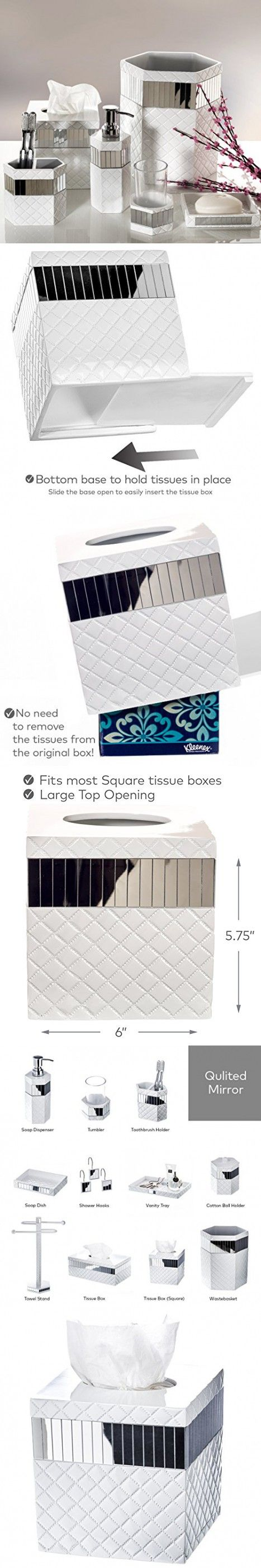 "Quilted Mirror Tissue Box Cover Square (6"" x 6"" x 5.75"") - Decorative Bath Tissues Paper Napkin Holder- Modern Serviette Napkins Container- Bottom Slider- For Cute Elegant Bathroom Décor"