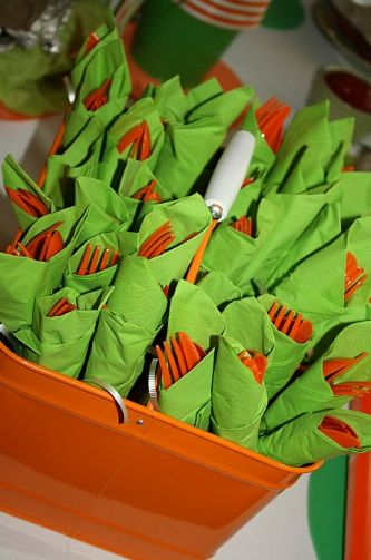 utensils for a party, wrapped up in napkins... great idea and looks cute for decor too.