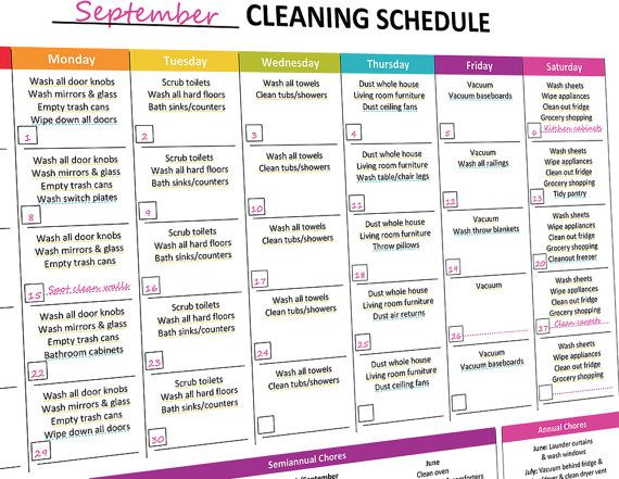 printable monthly cleaning schedule monthly cleaning schedule and cleaning schedules. Black Bedroom Furniture Sets. Home Design Ideas