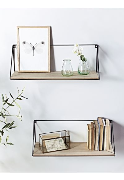 Two Industrial Wood and Metal Shelves - Large - Shelves & Hooks - Storage