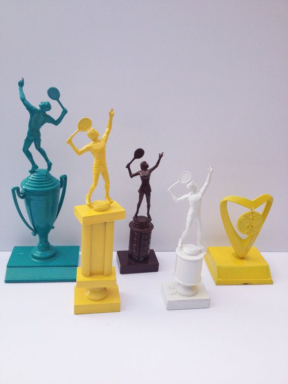Funky Home Decor  Spray Painted Tennis Trophies by onegirlcreative, $30.00