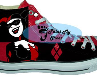 Harley Quinn, Batman,  converse, hand painted shoes, music shoes, free shipping in the US