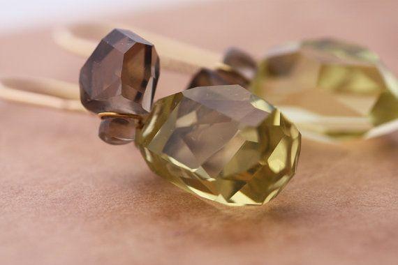 Quartz earrings  Smoky and Lemon quartz stones set by PetrosJewels