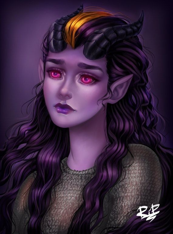 f Tiefling Wizard NG portrait [Art] Chara Faust - Tiefling Paladin of Sif : DnD