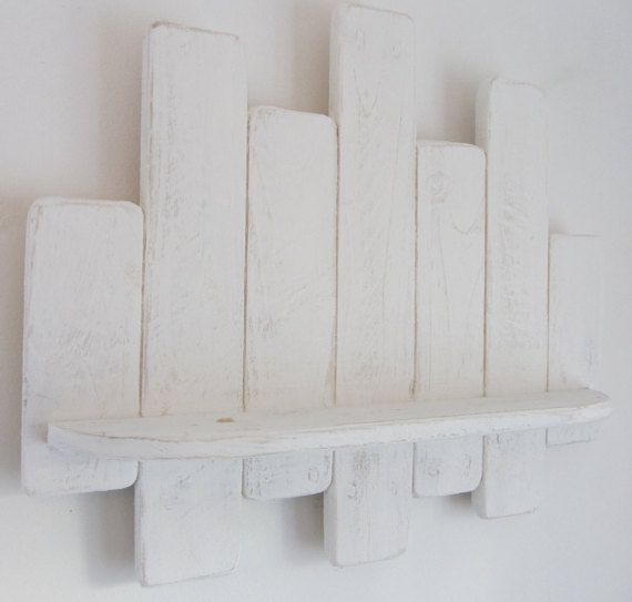 64 cm Shabby chic distressed white floating shelf by TimberWizards
