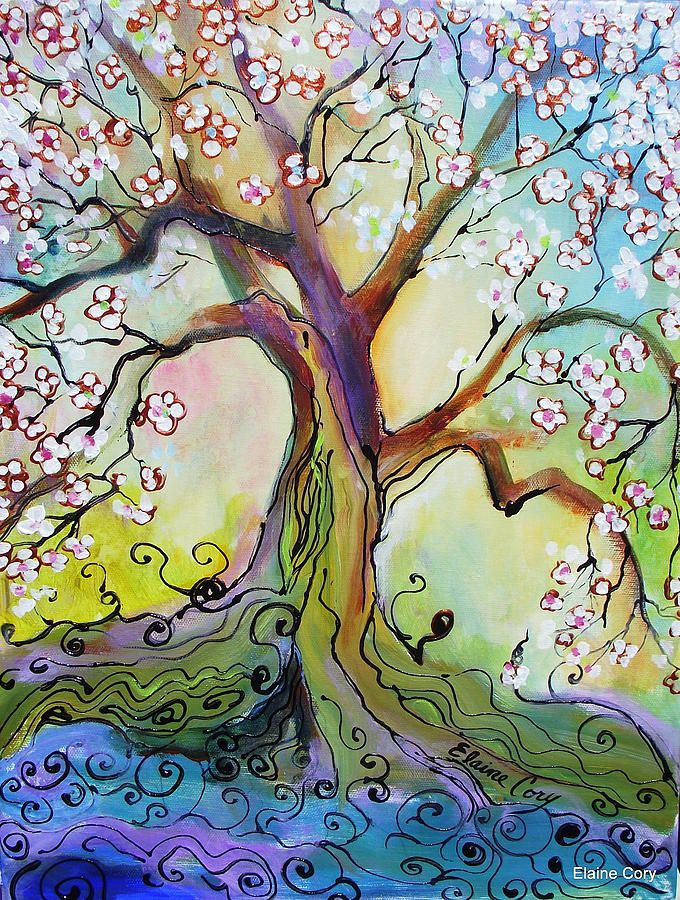 Japanese Plum Tree Painting  - Japanese Plum Tree Fine Art Print