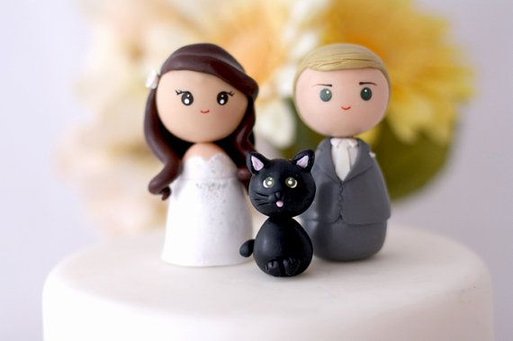 Personalized custom wedding cake topper bride groom by Chikipita