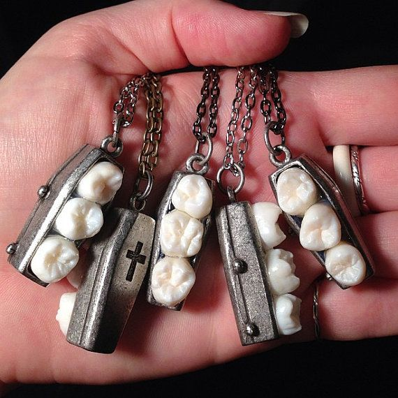 Tooth Fairy Series: Spooky Tooth Triple Real Molar Coffin Pendant Necklace