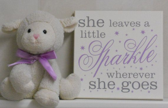 She Leaves A Little Sparkle Wherever She Goes - Nursery Signs - Light Purple and Gray Baby Girl Nursery Decor, Sparkles Wood Sign with Stars