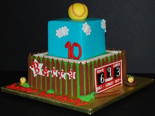 http://cakedecoratingcoursesonline.com/cake-decorating/ Softball Birthday Cake: Looking for #Best #Birthday #Cake? - Learn How to #Decorate Cakes - Visit Online Cake Decorating Classes on http://CakeDecoratingCoursesOnline.com
