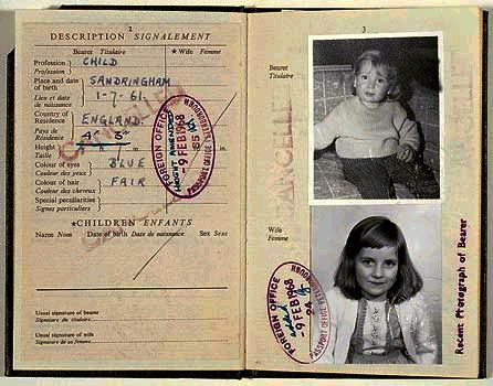 Lady Diana Spencer and her passport as a baby