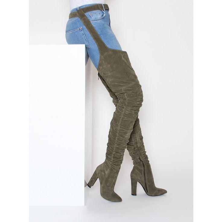 Rrez Khaki Suede Belt Thigh High Boots : Simmi Shoes