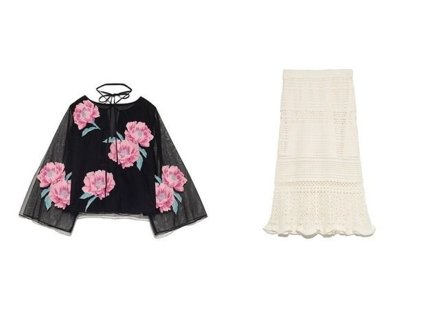 2017夏 おすすめ!人気アイテム  スナイデルのチュールエンブロイダリーブラウス&マーメイドクロシェスカートのファッション通販