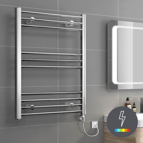 Ladder Rail Modern Electric Towel Radiator in Chrome 800mm x 600mm - soak.com