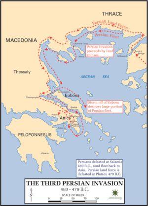 Este mapa mostra o fim das guerras médica ou guerras greco-persas. Apresenta as frotas persas derrotada em Salamis em 480 a.C e suas frotas sendo enviadas de volta pra Ásia e a força terrestre persa derrotada em Plataeu em 479 a.C