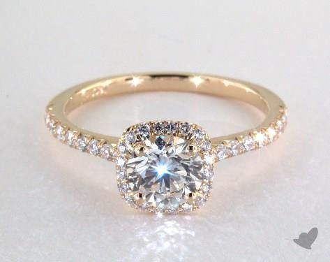 49621 engagement rings, halo, 14k yellow gold cushion outline pave engagement ring item - Mobile