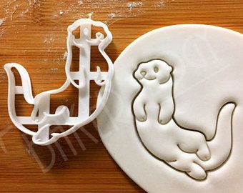 Sea Otter cookie cutter | Otterly Cute happy otters theme river biscuit cutters | kids party ideas kawauso marine mammals animals Bakerlogy