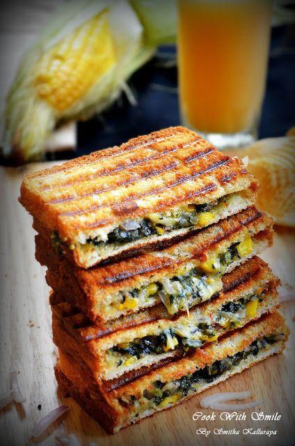 SPINACH CORN SANDWICH RECIPE / GRILLED CHEESY  SPINACH CORN SANDWICH | Cook With…