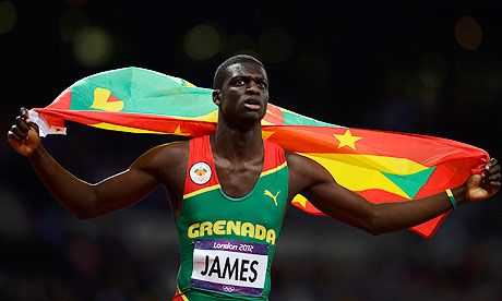 Grenada's Kirani James celebrates GOLD after winning the men's 400m final at the London 2012 Olympic Games.  The first medal ever for Grenada. #Great Story