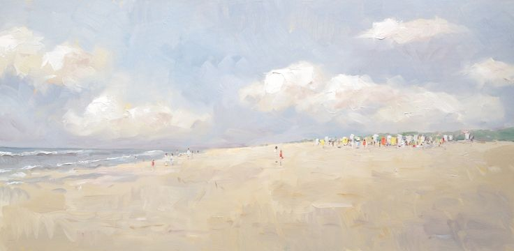 Beach Scene Holland, 50 x 100 cm. By Nicole Laceur.