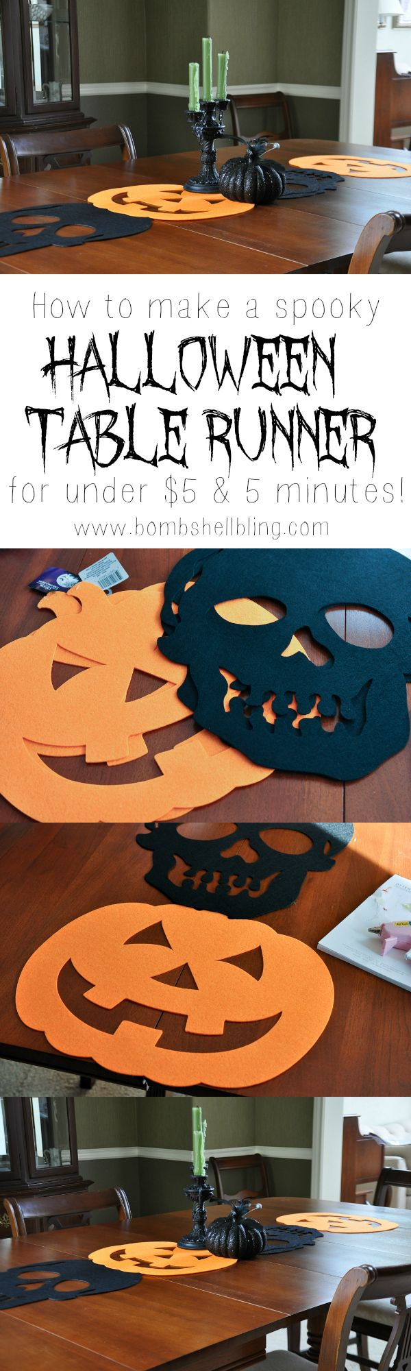 Make a spooky Halloween table runner for under $5 & 5 minutes!