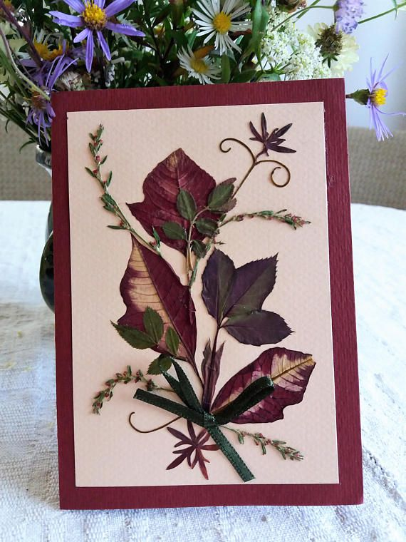 Autumn leaves card. Thanksgiving card. Real pressed leaves