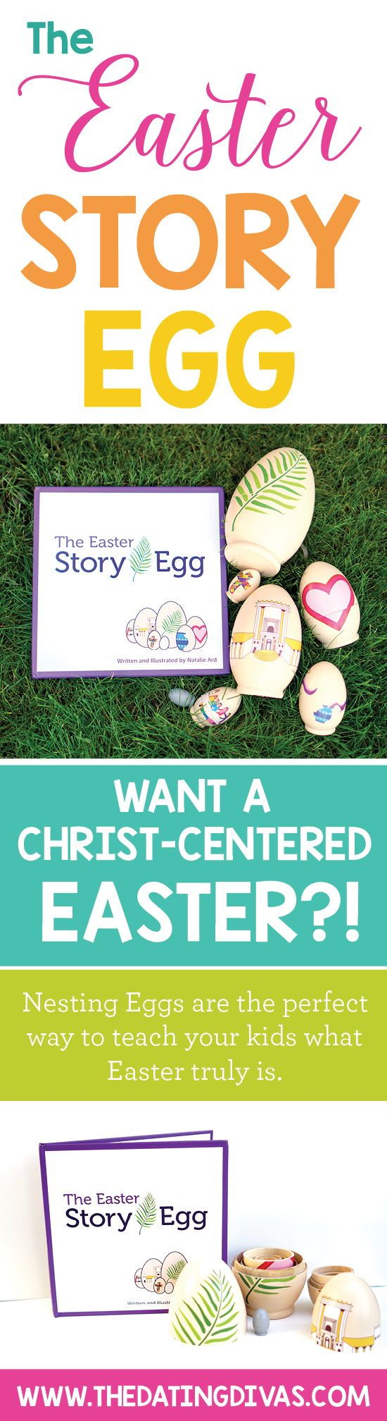 Celebrate the true meaning of Easter with a fun Christ-Centered Easter family tradition! The Easter Story Egg includes a hardcover book and 7 wooden nesting Eggs. It begins on Palm Sunday and ends on Easter Sunday. As the children open each Egg they will discover the Easter story and the journey of Jesus through Holy week.   Use Coupon Code DIVAS10 to get 10% OFF for a limited time!