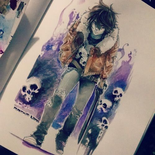 Nico di Angelo water color also how do people do this like how tell me