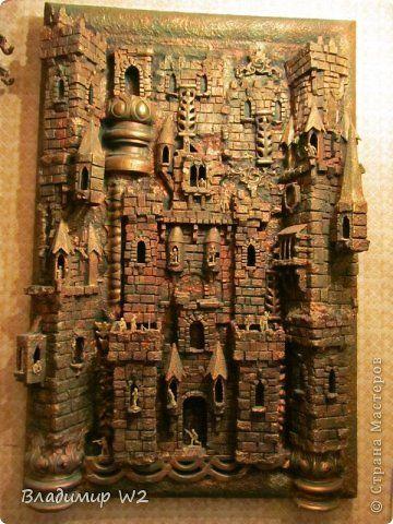Картина панно рисунок Папье-маше Панно Замок Материал бросовый фото 1