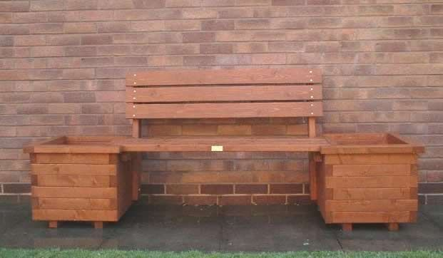 wooden planter benches 2