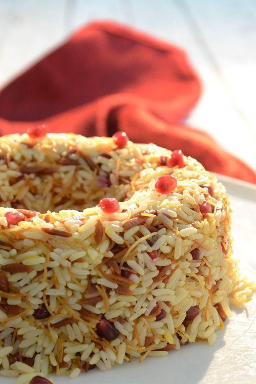 Πιλάφι με σαφράν, τηγανητό φιδέ και ρόδι