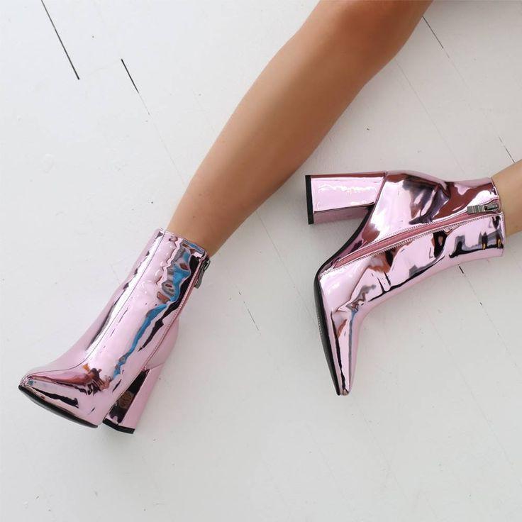 Metallic Pink Patent Leather Block-Heel Bootie