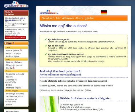 Deutsch lernen auf Albanisch - Menüführung Albanisch