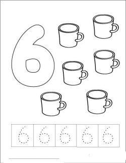 Alti 6 Rakami çizgi çalişmasi Ve Boyama Sayfasi Okul Pinterest