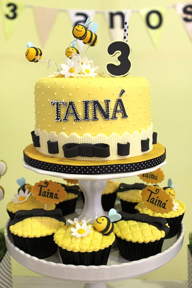 Bumblebee Birthday Cake and Cupcakes