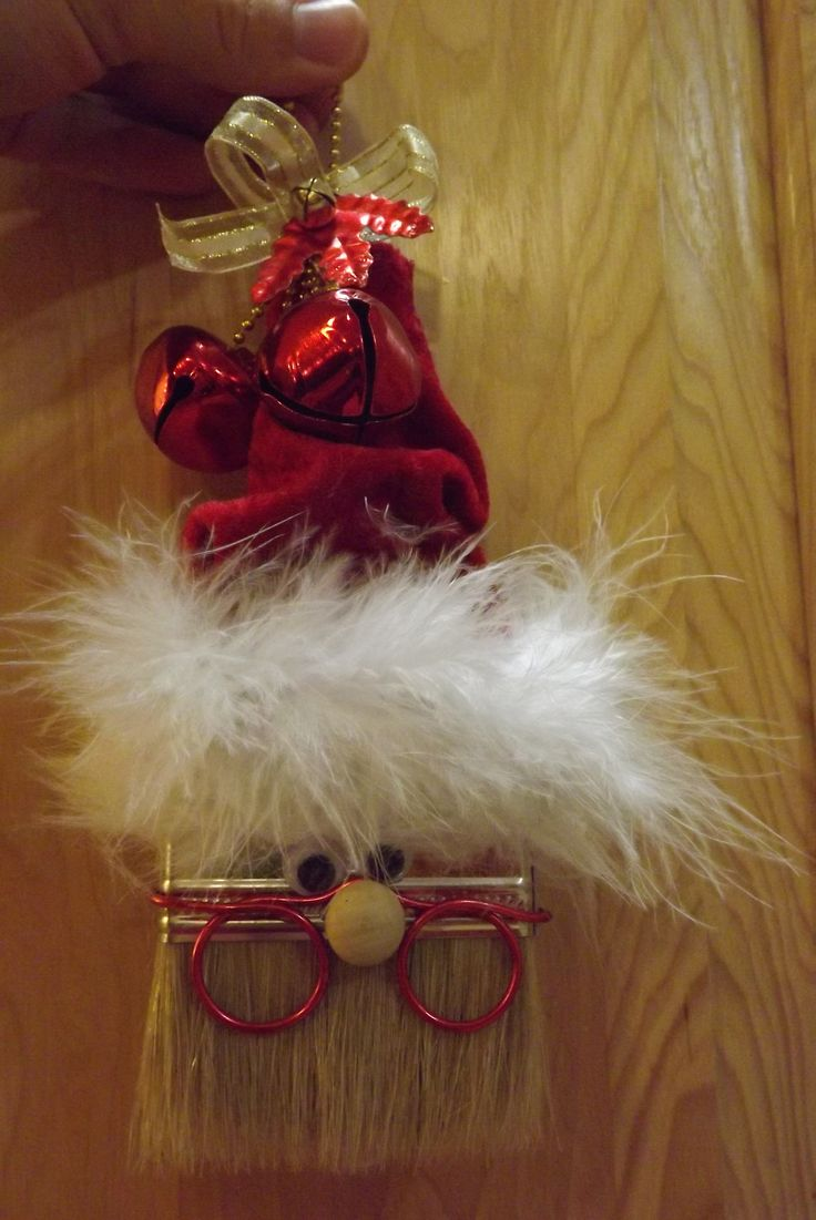 Homemade Christmas Ornament. Santa Claus made from a paint brush.