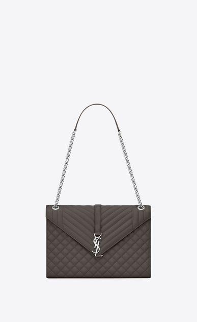 SAINT LAURENT Monogram envelope Bag D Large ENVELOPE chain Bag in Grey Grain de Poudre Textured Mixed Matelassé Leather a_V4